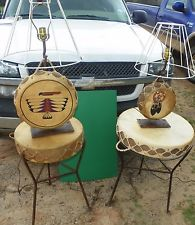 Native Tom Tom drums, tables amp; lamps, hand crafted 1993 set,Rare vintage