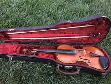 Antique Vintage Czech made KB violin w case and bows, worldwide shipping