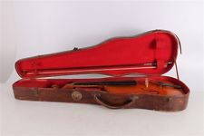 Antique Vintage Old Hungarian Violin With Bow And Wooden Case.