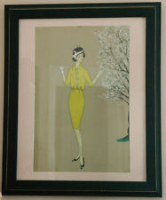 vintage or antique Art Deco fashion drawing and watercolor, framed