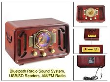 Vintage Wooden Radio Retro Style Antique USBSD Readers Bluetooth Radio System