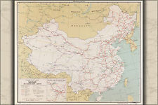 24x36 Poster; Cia Map Of China Railroads amp; Selected Roads 1961; Antique Reprint