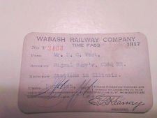 1917 VINTAGE WABASH RAILWAY COMPANY RAILROAD RR PASS TIME PASS