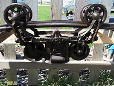 ANTIQUE F E MYERS AND BROS O.K HAY TROLLEY 1884 CAST IRON RUSTIC DECOR LIGHTING