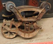 antique CAST IRON LOUDEN SENIOR HAY TROLLEY loosened and ready to clean lamp