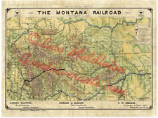 78 Montana Railroad 1899 vintage historic antique map painting poster print