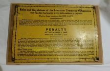 Vintage Antique Rare Metal Railroad Sign PENALTY ACT OF MARCH 4, 1909