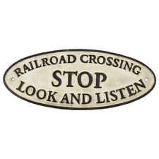 AntiqueVintage Style Cast Iron Railroad Crossing RR Xing Sign Train Room Decor