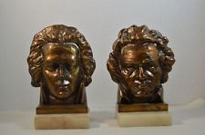 Vintage Austrian Bronze Bookends of Mozart and Beethoven on Marble