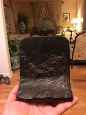 AntiqueVtg. Original Cast Iron Bookend Stage Coach and Horses With Orig. Paint