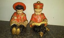 Vintage Bookend 1950s Chalk Ware Chinese male and female RARE Reading