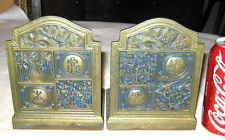 ANTIQUE LCT TIFFANY STUDIOS SOLID BRONZE BOOKMARK DESK OFFICE ART BOOKENDS #1056
