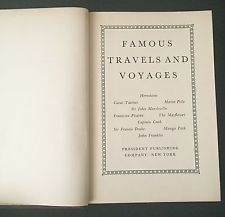 Famous Travels And Voyages Vintage Antique Book 1937 Marco Polo Mayflower More