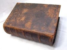 Antique 1765 Leather Bound German Bible Imprint Book Nuremberg Herr Family