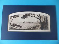 Vintage Print Or Sketch Water Scene And Trees Signed Rhys in Card Frame RARE