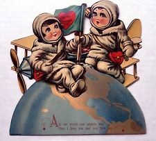 Rare 1920s Space Themes Mechanical Valentines Day Card  Very Cute