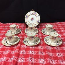 Coxon BELLEEK Fine China DEMITASSE Cup and Saucer SET OF 13 PIECES for 6 Floral