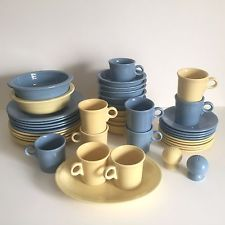 FIESTA WARE VINTAGE BUTTER YELLOW amp; PERIWINKLE BLUE DINNERWARE SET OF 43 PIECES