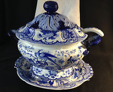 Large Flow Blue Opaque China tureen with ladle amp; under plate 1820s-1850s