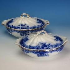 Flow Blue China - Grindley Marguerite Pattern - 2 Oval Covered Casserole Dishes