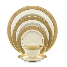 Westchester Gold 60pc Dinner China Set Service for 12 Lenox