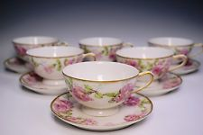 Gorgeous Set of 6 Redon Limoges China Cups and Saucers