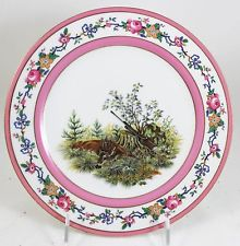 ANTIQUE CABINET LUNCHEON PLATE #1 AHRENFELDT LIMOGES FRANCE CHINA COUNTRY GAME