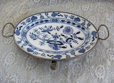 Antique Vintage Meissen China Blue Onion Tray With Attached Pewter Warming Tray