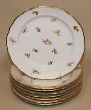 8 Meissen Scattered Flowers China 9-34 Inch Dinner Plates Hard to Find