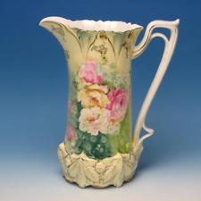 RS Prussia China - Flower Decorated - Large Handled Pitcher