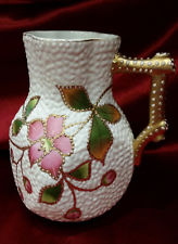 R S GERMANY Fine China Pitcher with a White on White Pink amp; Gold Floral Pattern