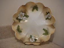 RS Prussia china ftd cream pitcher sugar  peach floral   nice square bases