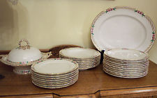 Antique English bone china dinnerware set, Kerr amp; Binns 1850s (Royal Worcester)