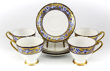 4pc Set Shelley Fine Bone China Cup amp; Saucers Hand Painted Gold amp; Blue Swallows