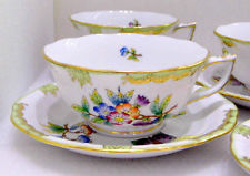 HEREND QUEEN VICTORIA RARE TEACUPS AND SAUCERS,12PCS.KOSHER,BRAND NEW BOXED