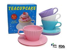 Silicone Baking Cups Cupcake Liners Reusable Muffin Molds 4 Cups and 4 Saucers i