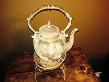 VintageAntique  Copper  and Brass Teapot with Warming Stand