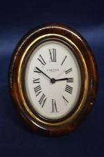 Vintage Cartier Oval Swiss Made Brass and Enamel Travel Clock
