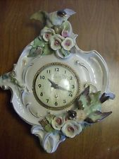 Vintage Cordey Porcelain Wall Clock, w Birds and Flowers #909