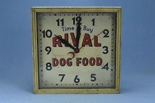 Antique ADVERTISING RIVAL DOG FOOD ELECTRIC CLOCK WOOD FRAME TIN FACE #03404