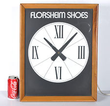 Vintage Florsheim Shoes Advertising Electric Lighted Wall Clock RUNS