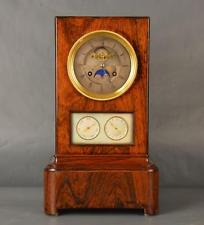ANTIQUE BIEDERMEIER CLOCK MONTHLY WITH MOON PHASES AND CALENDAR