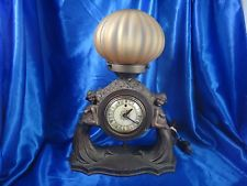 Vintage Telechron Electric Clock with Wood Stand and Light on Top Both Working