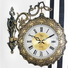 Luxury Antique Double Sided Clock Sun Best VIP Hotel Wall Decor Gift Time