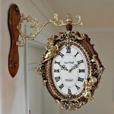 Luxury Double Sided Clock Two Sides Gold Angles Antique style Gift