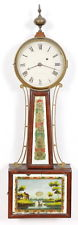 J. N. Dunning Weight Driven Banjo Clock Original Glasses, Untouched Signed Dial
